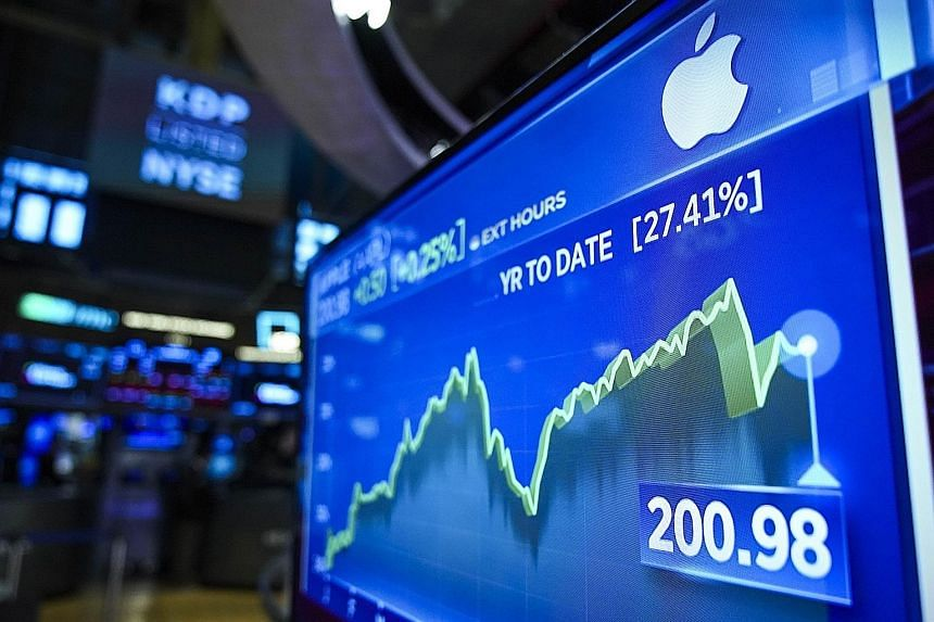 Stock numbers for Apple seen on a monitor at the New York Stock Exchange yesterday. Apple shares surged more than 5 per cent and the Dow Jones Industrial Average rose more than 500 points after news of the US decision to delay imposing tariffs on lap