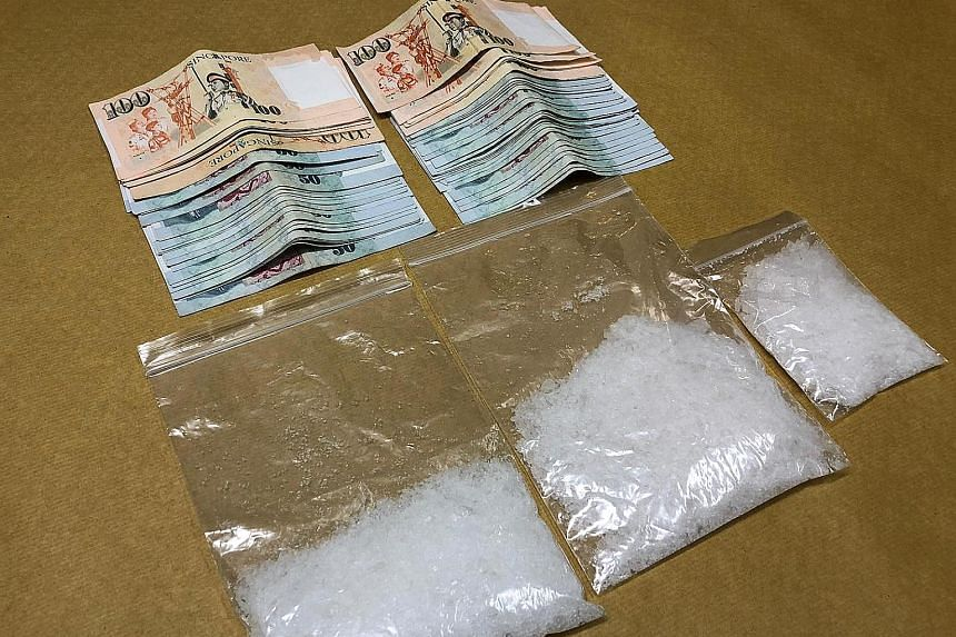 The number of Singapore citizens and permanent residents caught trafficking drugs declined by about 3 per cent, from 511 in 2014 to 495 last year, said the Ministry of Home Affairs. PHOTO: CENTRAL NARCOTICS BUREAU
