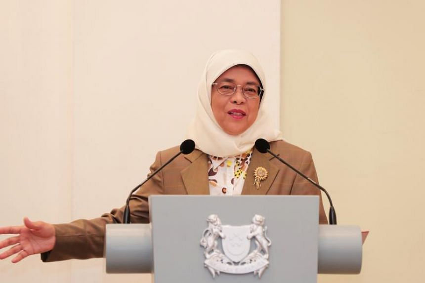 President Halimah Yacob delivers a speech at a reception in the Istana to thank National Day Parade participants and organisers on Aug 14, 2019.