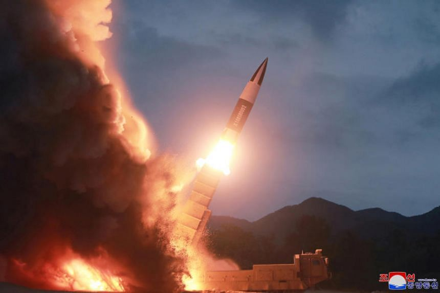North Korea test fires a new weapon, in this undated photo released on Aug 11, 2019, by North Korea's Korean Central News Agency.