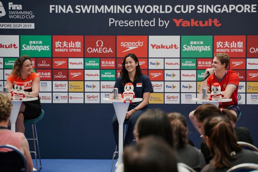 Swimmers (from left) Katinka Hosszu, Quah Ting Wen and Vladimir Morozov at a press conference at at Kallang Wave Mall on Aug 14, 2019.