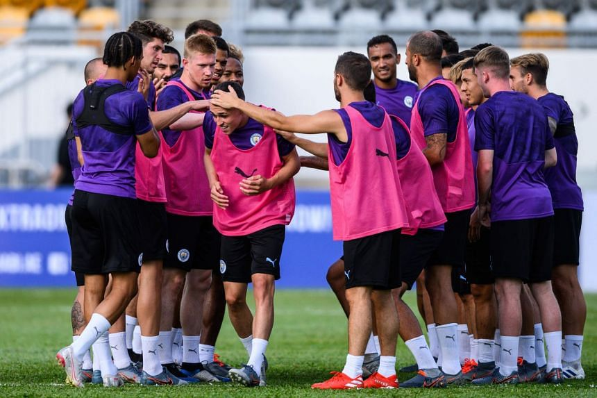 City players take part in a training session in Hong Kong in July 2019.