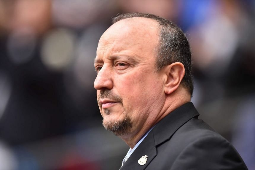 Benitez arrives for a Premier League match between Tottenham Hotspur and Newcastle United at Wembley Stadium in London.