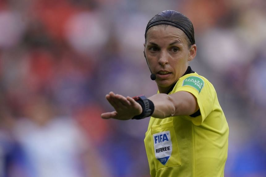 Frappart gestures during the France 2019 Women's World Cup Group D football match between Argentina and Japan.
