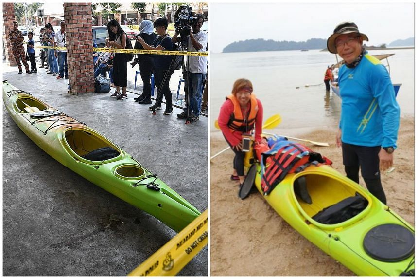 The bright green kayak that Mdm Puah Geok Tin and Mr Tan Eng Soon were last seen in before they were separated from their group in the Endau waters at Mersing last Thursday (Aug 8).