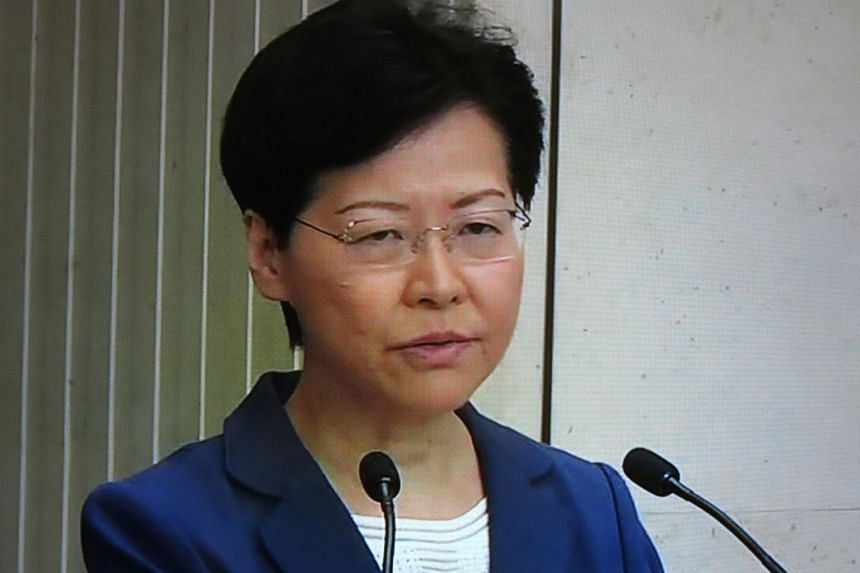 In a photo taken on Aug 13, 2019, Hong Kong's Chief Executive Carrie Lam speaks during a press conference in Hong Kong concerning the continued protests that have gripped the city.