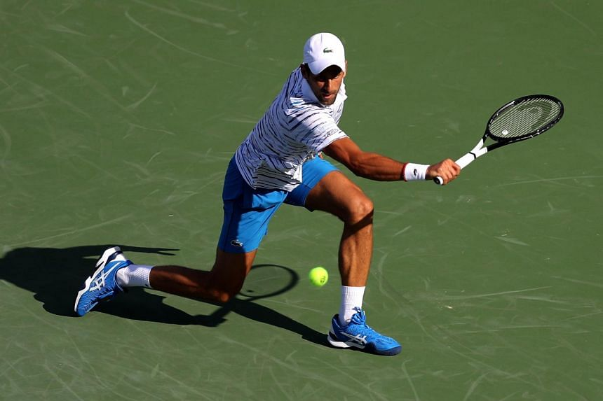 Novak Djokovic fired his 15th ace on match point to make up for his slow start on the sun-soaked courts.