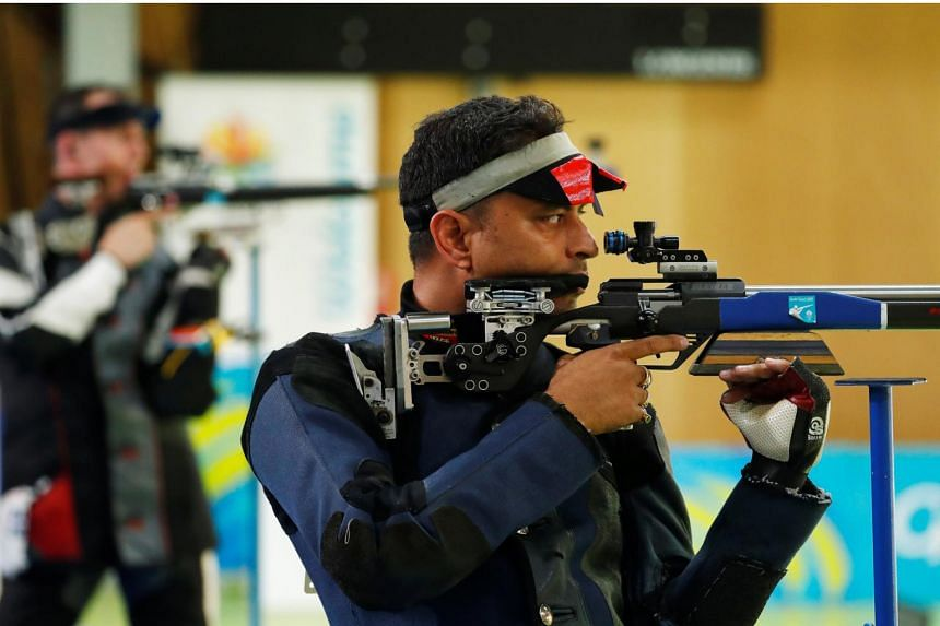 Sanjeev Rajput representing India in the Men's 50m Rifle finals at the 2018  Commonwealth Games in Brisbane, Australia.