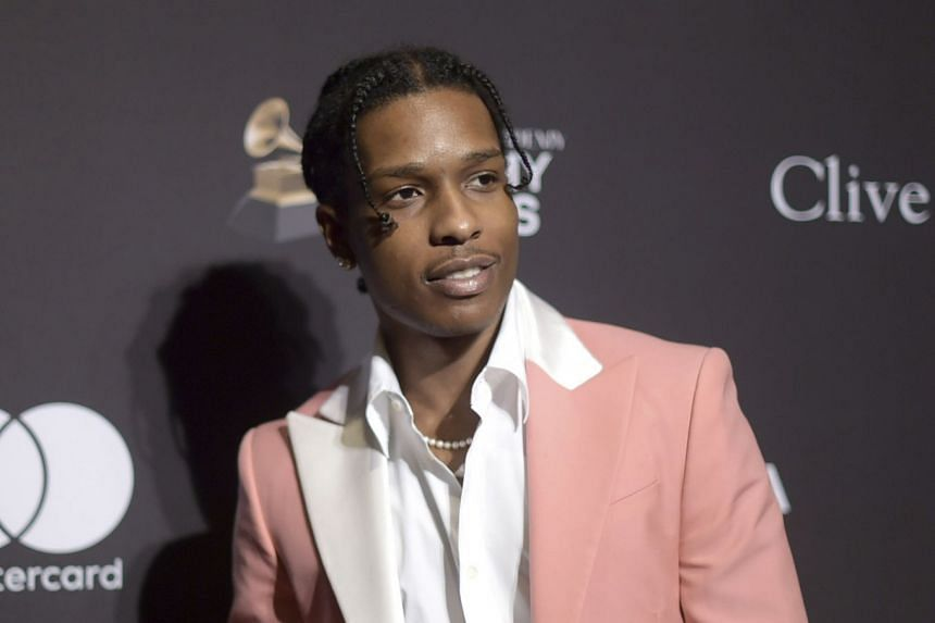 A February 2019 photo shows A$AP Rocky at a pre-Grammy gala in Beverly Hills, California.