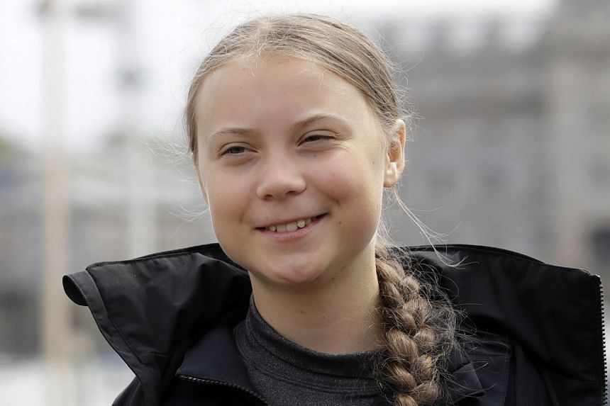 Climate change activist Greta Thunberg addresses the media during a press conference in Plymouth, England.