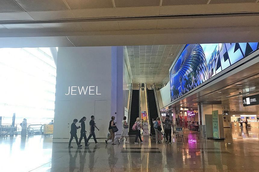 Islandwide retail vacancies declined by 0.8 percentage point from the second half of last year to 7.7 per cent in the six months to June 30 this year, likely boosted by the good take-up at Jewel Changi Airport (above) and Funan mall. Colliers Researc