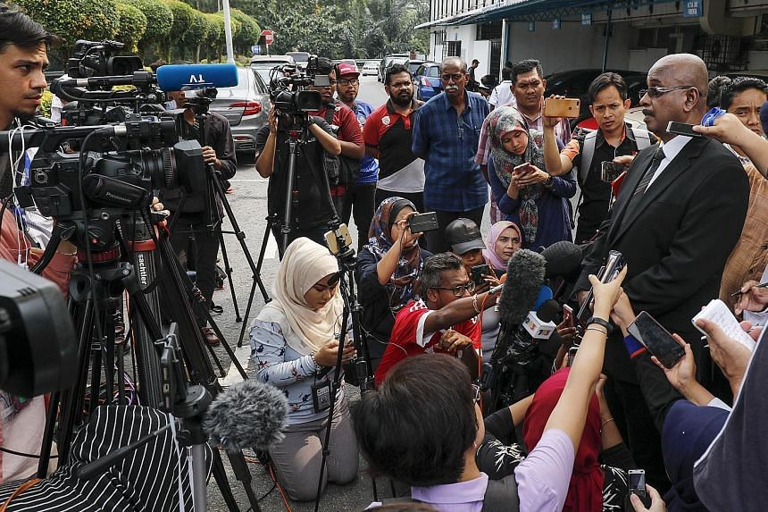 Above: Mr Sankara Nair, lawyer for the family of 15-year-old Nora Quoirin (left), speaking to the media outside the Tuanku Jaafar Hospital in Seremban, Malaysia, yesterday. Nora went missing from a rainforest resort on Aug 4, while on holiday with he