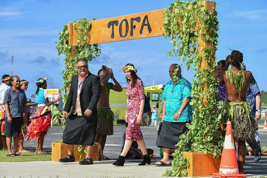 New Zealand's Prime Minister Jacinda Ardern arriving in Tuvalu yesterday to attend the Pacific Islands Forum, an 18-member grouping consisting mainly of small atoll nations dotted around the vast Pacific Ocean.