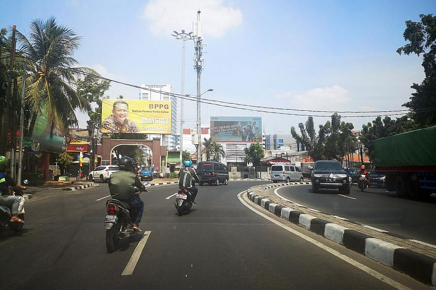 Billboards bearing photos of Golkar member Bambang Soesatyo have been popping up across Jakarta as Indonesia's oldest and second-largest political party gears up for elections by December. ST PHOTO: WAHYUDI SOERIAATMADJA
