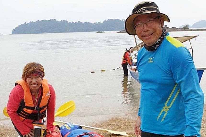 An undated photo provided to Lianhe Zaobao showing Mr Tan Eng Soon and Madam Puah Geok Tin, who were kayaking around the Endau islands last Thursday when they became separated from their group. Mr Tan's wife, Madam Kwan Yoke Yee, with a consular offi
