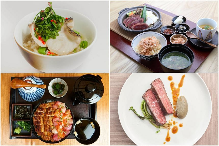 (Clockwise from top left) Wild Fish Congee, Java Ginseng & Coriander tossed with Preserved Plum Dressing from Kausmo, a toban yaki set lunch with wagyu from MAI, a wagyu beef tri-tip from LeVeL33 and a Kaisen x Hitsumabushi by Teppei and Man Man.