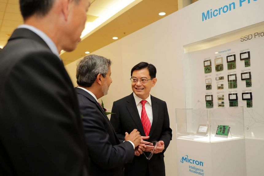 Deputy Prime Minister Heng Swee Keat tours the Experience Zone together with Sanjay Mehrotra, President and CEO of Micron at the Micron Singapore Fab Expansion 2019 on Aug 14, 2019.