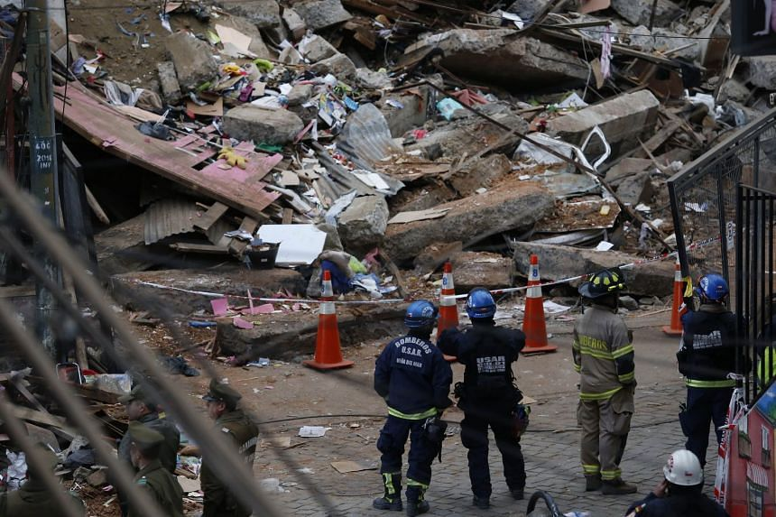 The site where a house collapsed following a landslide in Valparaiso, Chile.