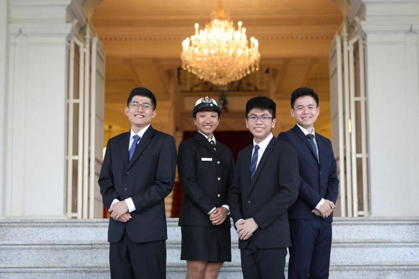 President's Scholarship recipients (from left) Muhammad Dhafer Muhammad Faishal, Allison Tan Sue Min, John Chua Je En and Siow Mein Yeak, Yue.