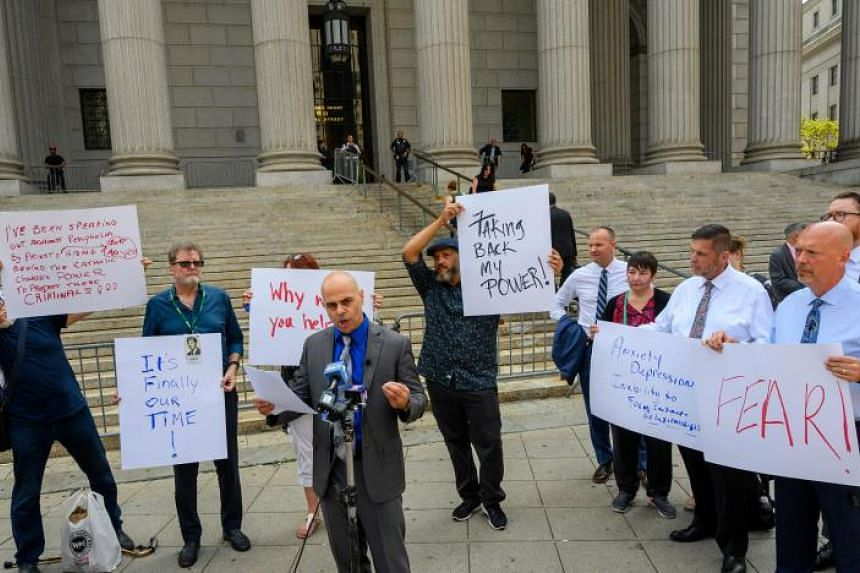 Protesters call on the Archdiocese of New York, Diocese of Brooklyn and Diocese of Rockville Centre to help survivors of clergy sexual abuse in New York on Aug 14, 2019.