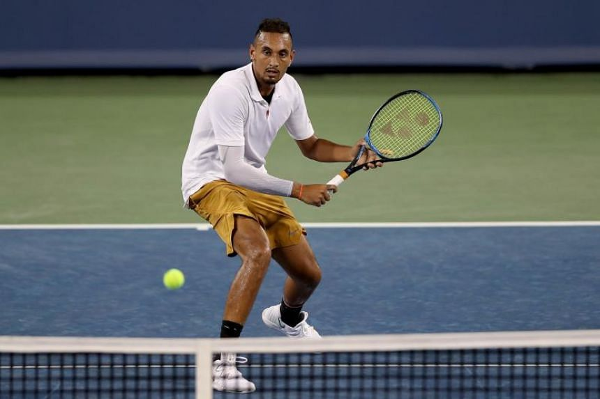 Nick Kyrgios of Australia returns a shot to Karen Khachanov of Russia (not pictired) during the Western & Southern Open at Lindner Family Tennis Center in Mason, Ohio, on Aug 14, 2019.