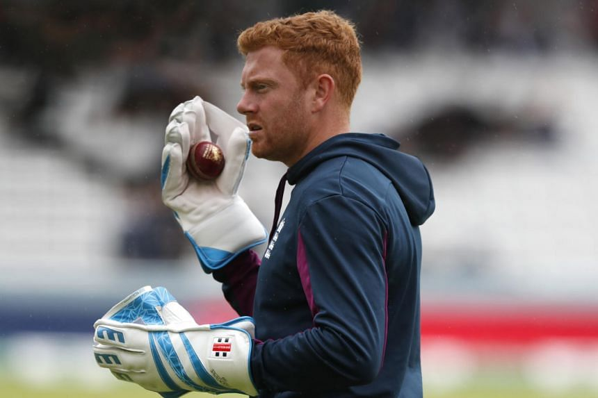 England's Jonny Bairstow walks off the pitch as rain delays play on day one of the 2nd Ashes Test cricket match between England and Australia at Lord's cricket ground in London on Aug 14, 2019.