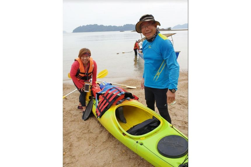 An undated photo provided to Lianhe Zaobao showing Mr Tan Eng Soon and Madam Puah Geok Tin, who were kayaking around the Endau islands last Thursday when they became separated from their group.