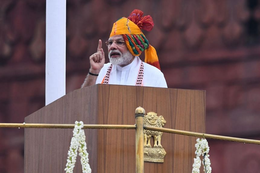 Mr Modi spoke in an Independence Day address from India's Mughal-era Red Fort in New Delhi as an unprecedented security lockdown kept people in Indian-administered Kashmir indoors for an 11th day.