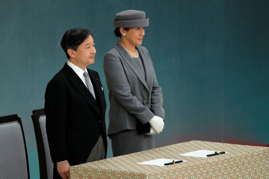 Emperor Naruhito and Empress Masako attend a memorial service ceremony marking the 74th anniversary of Japan's surrender in World War II, in Tokyo, on Aug 15, 2019.