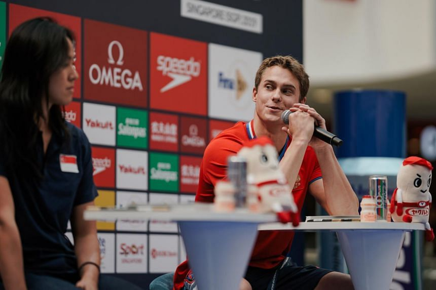 Vladimir Morozov speaking at a press conference which took place ahead of Fina Swimming World Cup Singapore where fans get a meet-and-greet session at Kallang Wave Mall on Aug 14, 2019.