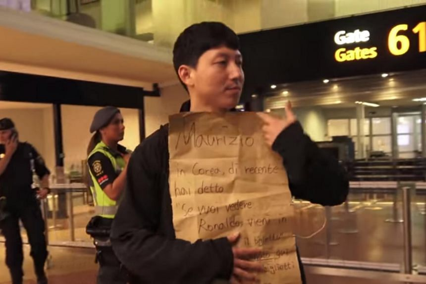 Kwak Ji-hyuk - who describes himself as a former die-hard fan of football star Cristiano Ronaldo - films himself making several more attempts to grab the star's attention, including waving a sign written in Portuguese.