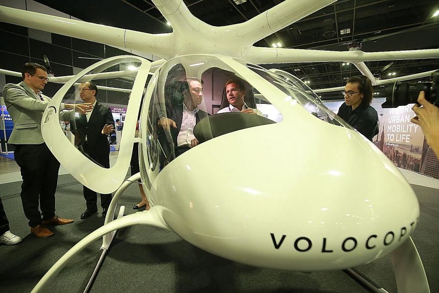 A prototype of Volocopter's air taxi, based on drone technology and powered by electricity, on display at the Aviation Open House. The company plans to conduct trials in Singapore by the end of this year.