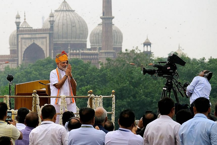 India's Prime Minister Narendra Modi at an event celebrating the nation's Independence Day at Red Fort in New Delhi, yesterday.
