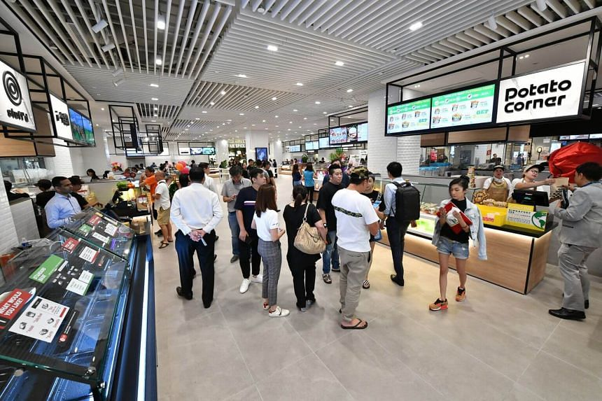 Patrons at a food hall in Jewel Changi Airport, on April 11, 2019.