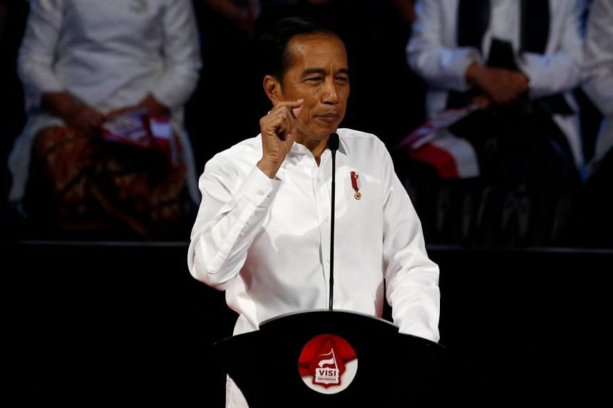 Indonesian President Joko Widodo delivering a speech on July 14, 2019. Mr Joko said on Aug 16 that while checks and balances between government branches are important, everyone must have the same goal.