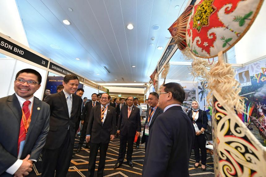 (From left) CEO of the Sarawak Trade and Tourism Office in Singapore Chew Chang Guan; Trade and Industry Minister Chan Chun Sing; Deputy Chief Minister of Sarawak Amar Douglas Uggah; Acting State Secretary Datuk Jaul; Sarawak Economic Development Cor