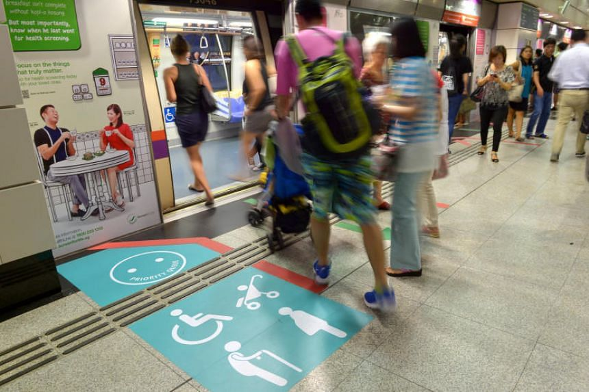 A priority queue sticker at Outram Park MRT station.