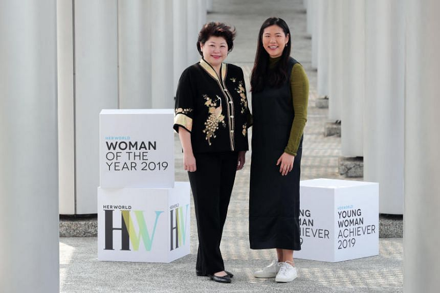 Ms Susan Chong (left), founder and chief executive of eco-friendly packaging company Greenpac, is named Her World Woman of the Year while Ms Annabelle Kwok, founder and chief executive of artificial intelligence start-up NeuralBay is Young Woman Achi