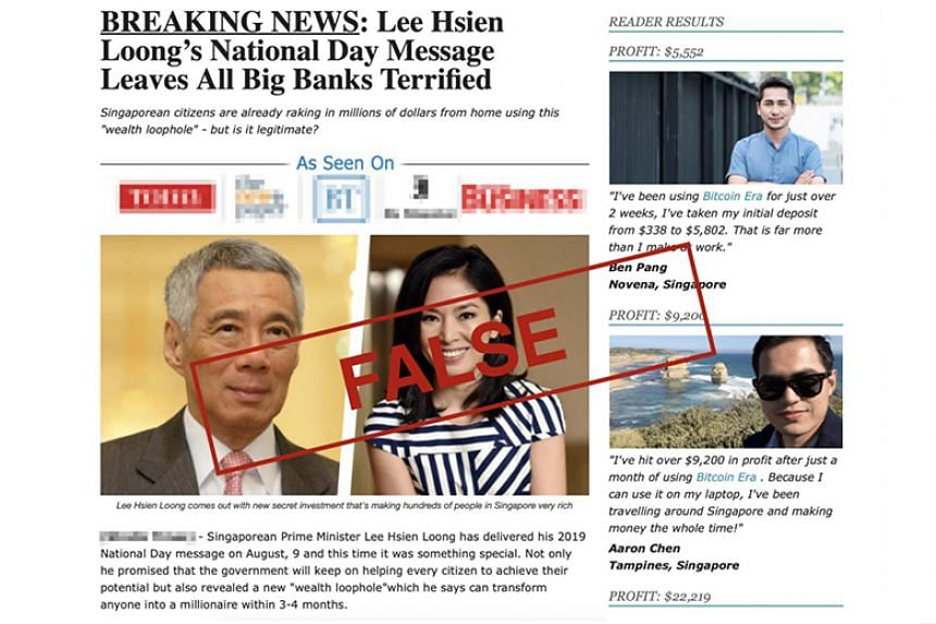 """A screenshot provided by the Monetary Authority of Singapore showed the website had claimed that Prime Minister Lee Hsien Loong, in his National Day message, revealed a new """"wealth loophole""""."""