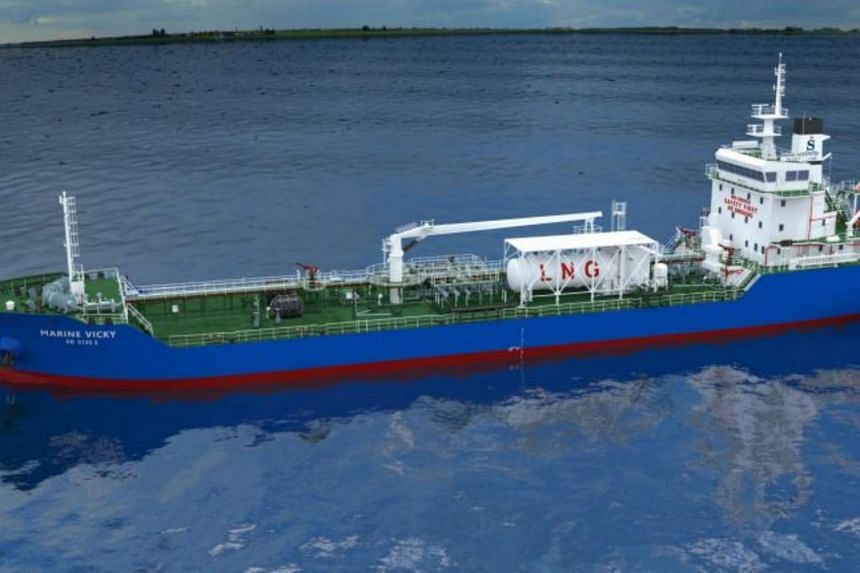 The vessel, soon to be christened Marine Vicky, will be the first bunker tanker powered mainly by liquefied natural gas to be deployed in Singapore waters.