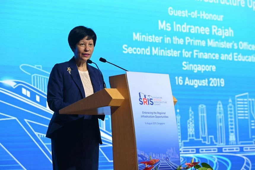 Minister in the Prime Minister's Office Indranee Rajah during her keynote speech at the Singapore Regional Infrastructure Summit on Aug 16, 2019. PHOTO: SINGAPORE BUSINESS FEDERATION