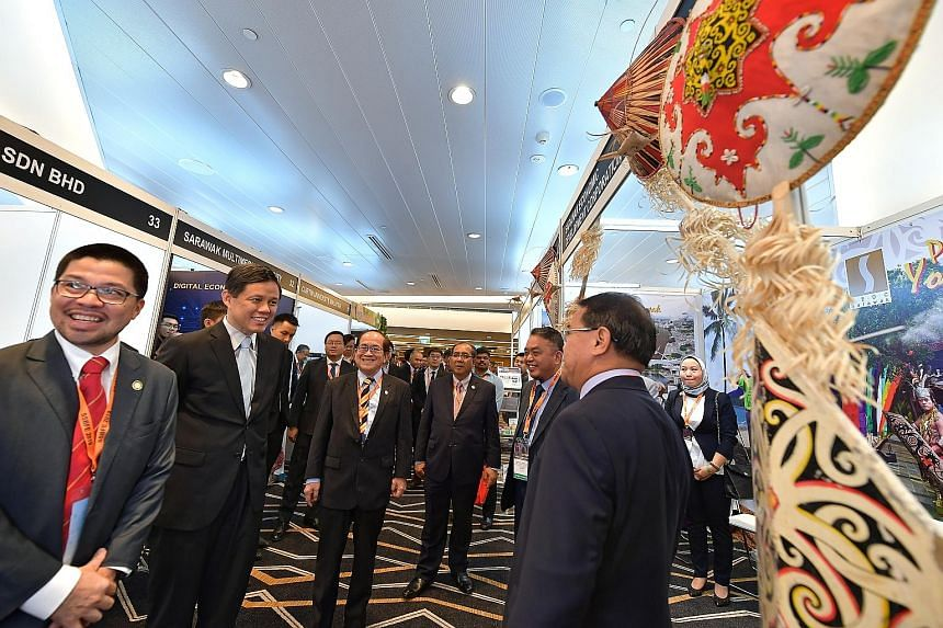 (From left) Sarawak Trade and Tourism Office in Singapore chief executive Chew Chang Guan; Singapore's Trade and Industry Minister Chan Chun Sing; Sarawak's Deputy Chief Minister Amar Douglas Uggah; Sarawak's Acting State Secretary Datu Jaul Samion;