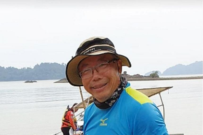 A Malaysian maritime officer, Deputy Lieutenant Eddieson Efendi Ussim, briefing the family of missing Singaporean kayaker Tan Eng Soon on Thursday about the search and rescue operations. Mr Tan Eng Soon, 62, has not been found. He and Madam Puah Geok