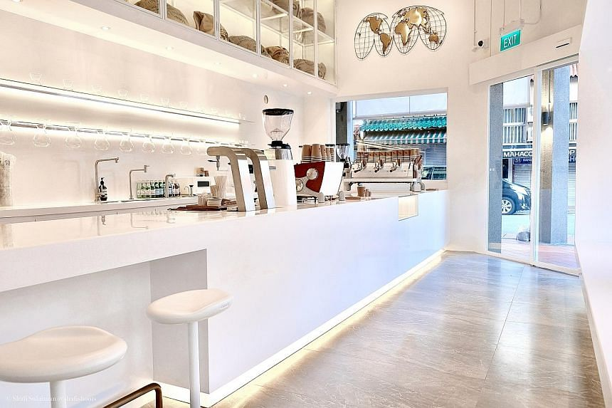 The first Singapore franchise of % Arabica has a clean, minimalist theme and bench seating by the windows.