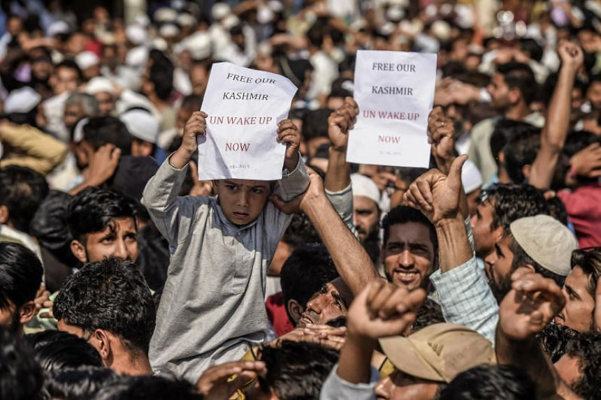 A protest against the ending of Kashmir's limited autonomy after Eid prayers in Srinagar, India, on Aug 12, 2019.