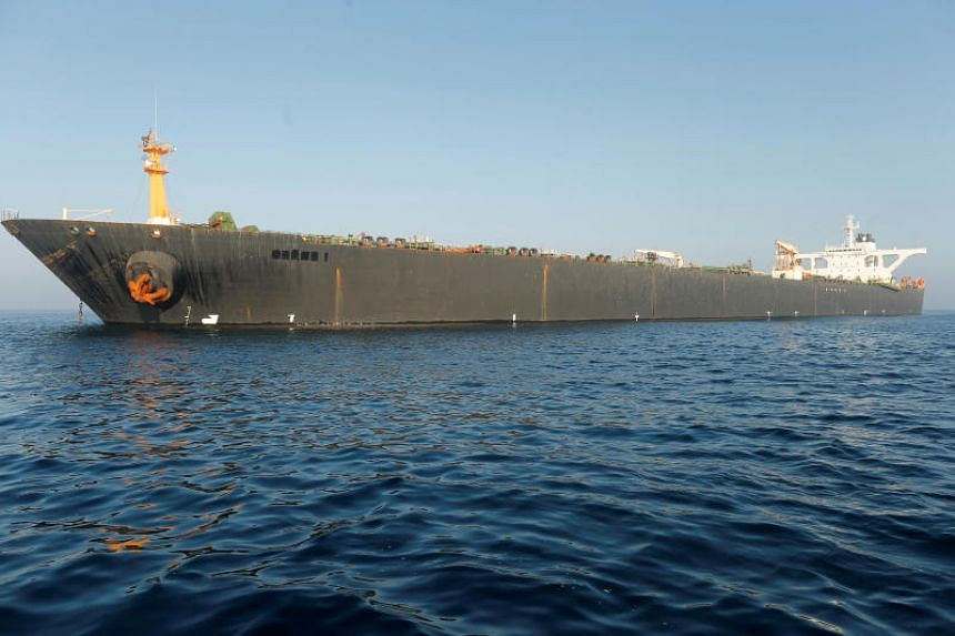 The name of Iranian oil tanker Grace 1 is seen removed as it sits anchored after the Supreme Court of the British territory lifted its detention order, in the Strait of Gibraltar, southern Spain, on Aug 16, 2019.