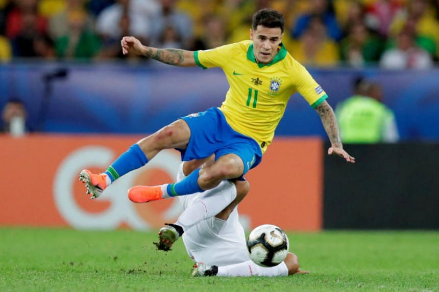 In a photo taken on July 7, Brazilian Philippe Coutinho plays during the finals of the Copa American Brazil. He is expected in Munich in the next few days to finalise the deal with Bayern Munich and complete a medical.