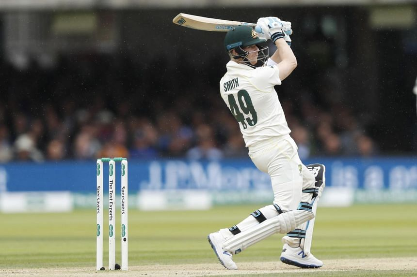 Australia's Steve Smith plays a shot off the bowling of England's Chris Woakes on day three of the 2nd Ashes Test cricket match between England and Australia at Lord's cricket ground in London, on Aug 16, 2019.