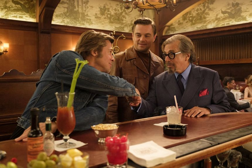 (From far left) Brad Pitt, Leonardo DiCaprio and Al Pacino in Quentin Tarantino's film, Once Upon A Time In... Hollywood.