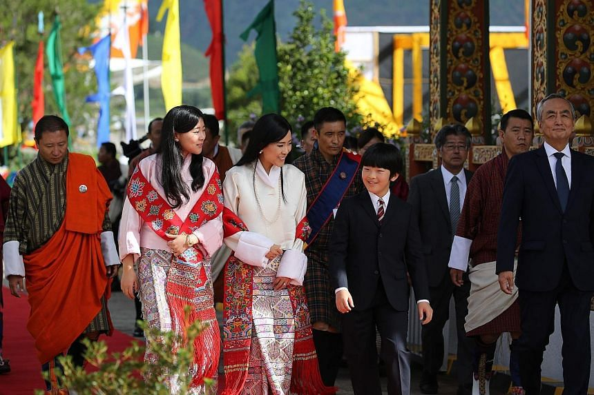 Japan's 12-year-old Prince Hisahito being welcomed by Bhutan's Princess Dechen Yangzom Wangchuck (in white top) and Princess Eeuphelma Choden Wangchuck (in pink top) after arriving in Bhutan yesterday for a private family trip with his father, Crown